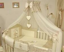 LARGE BABY CANOPY MOSQUITO NET 480cm WIDTH FITS COT BED + HOLDER - HEARTS BEIGE