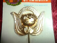 Vintage Gold tone Angel Plastic Miniature Pick  1 3/4 x 2""