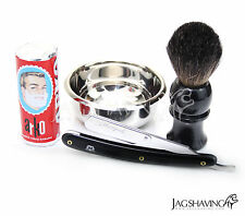 Straight Cut Throat Razor Shaving Gift Set shaving soap Bowl & Badger hair Brush