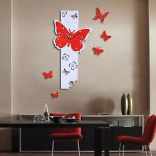 Farfalla Mosche Grande FAI-DA-TE Orologio Da Parete 3D Specchio Superficie
