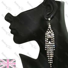 "5""long CRYSTAL rhinestone STATEMENT EARRINGS gunmetal black BIG chandelier"