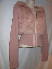 Pink Leather & Real Rabbit Fur Hooded Sweater Jacket XS S SALE****