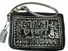 COACH POPPY Metallic GRAFFITI BLACK SOFT LEATHER WRISTLET WALLET PHONE CASE EUC