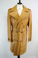Vintage Mustard Yellow 60s 70s Leather Belted Double Breasted Trench Coat 40L