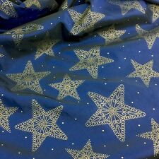 Christmas Royal blue & gold star taffeta 58 inches wide per metre beautiful