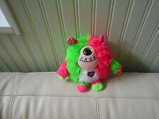 """TY Monstaz SPIKE Plush Stuffed Pink Green CYCLOPS One Eyed Monster 6"""" Tall"""