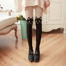 Hot Women Silk Stockings Pantyhose Ribbed Over Cute Cat Sexy Slim Tights
