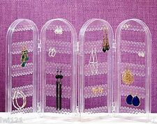 Acrylic Folding Pierced Earring Necklace Holder Jewelry Organizer Display Rack