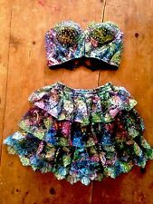FAR AWAY Women's Vtg 80s Mermaid Sequin Skirt Bra Top L Dress Costume