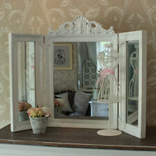 White Resin Ornate Dressing Table Triple Mirror Shabby French Chic Bedroom Home