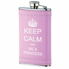 6oz Pink Leather Wrapped Stainless Steel Hip Flask Keep Calm and Be A Princess