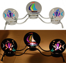 69025 3-Piece Fish & Sailboat Metal Tealight Candle Holder Boating Nautical