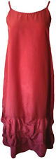 Krista Larson Deep Red Silk Taffeta Long Wavey Slip Lagenlook Valentine's Day