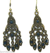 Vintage Bronze Wedding Peacock Tail Chandelier Dangle Charm Fish Hook Earrings