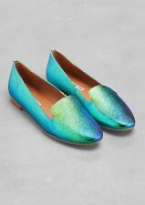 &Other Stories Oily Leather Slippers iridescent oil slick EU 37 UK 4
