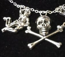 "Halloween Skeleton & Skull Cross Bones Charm Tibetan Silver 18"" Necklace B143"