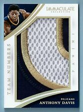 ANTHONY DAVIS 2014/15 PANINI IMMACULATE TEAM NUMBERS GAME USED 3 COLOR PATCH /20