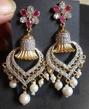 Genuine Cubic Zirconia AD Gold Silver Plated Ruby Pearl Indian Earrings 2'' Set/