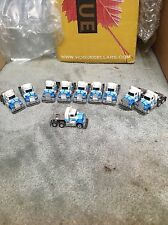 VINTAGE TEN PIECE AURORA AFX SLOT CAR GROuP / SEMI TRUCK / BLUE WHITE COLOR!!!!!