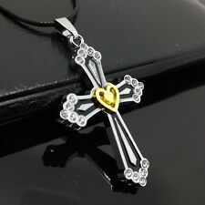 Fashion Stainless Steel Silver Cross Gold Heart Pendant necklace HH13