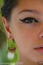 Tribal Brass Hoop Earring Vintage Gypsy Fashion Jewelry Boho Women Lotus Unique