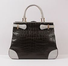 $6K Giorgio's of Palm Beach-Black Light Blue-Crocodile Tote Bag w Shoulder Strap