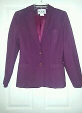 Vintage West Coast Connection Wine Wool Blend Skirt Suit in Junior's size 7 GUC
