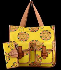 NWT FOSSIL SHAY 7 POCKET CANVAS SHOPPER TOTE & LEATHER TATE CLUTCH WALLET FLORAL