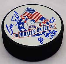 Buzz Schnieder Autographed Signed 1980 USA Olympic Hockey Puck JSA Certified