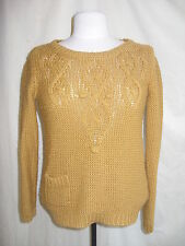 Ladies Jumper George, size 8, mustard colour, acrylic, knitted, 3/4 sleeve 0817