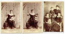 CABINET PHOTOS CHILDREN WITH TOY DOLLS BLANDFORD & HEMEL HEMPSTEAD ANTIQUE 1880S