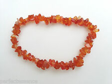 A Grade Carnelian Crystal Chip Bracelet - Reiki Charged, Lifts Mood
