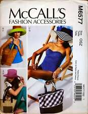 McCall's Sewing Pattern M6577 Beach Accessories Totes Bags Sun Hats Out of Print