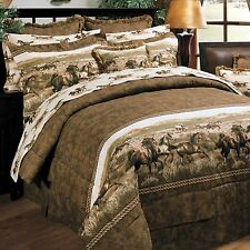 Blue Ridge Trading Wild Horses QUEEN 8pc Comforter Set Country / Western Theme