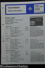 Telefunken Service bajazzo compact 102c Interfunk CR 7000 original Schaltplan