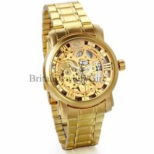 Luxury Gold Tone Skeleton Automatic Mechanical Stainless Steel Men's Wrist Watch