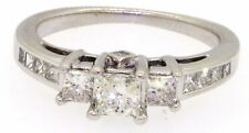 14K white gold .95CT diamond wedding engagement ring w/ .33CT center size 6.25