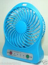 Portable Mini Rechargeable LED Light Fan With Battery Charger & USB Cable-Blue