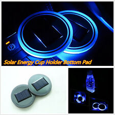 2 Pcs Car Truck Interior Solar Energy Cup Bottle Bottom Holder Pad w/ Blue Light