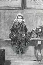 Train Station 1875 LITTLE GIRL WAITING on BENCH Matted Victorian Engraving Print
