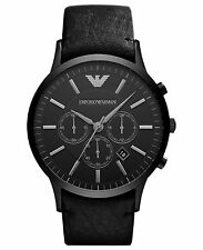 Emporio Armani Black Leather Quartz Analog Men's Watch AR2461