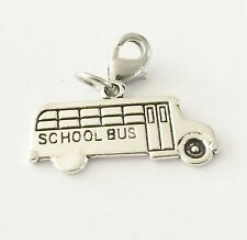 LOVELY SILVER CHILDRENS  SCHOOL BUS - 3D-  CLIP ON CHARM  -TIBETIAN SILVER - NEW