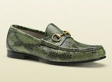 GUCCI Genuine Python Snakeskin Horsebit Loafers Sz 8.5G (US 9.5) ~ Green ~ NEW