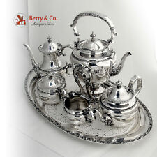 Ornate 6 Piece Tea Coffee Set and Kettle Sterling Silver Shreve and Co 1895-1910