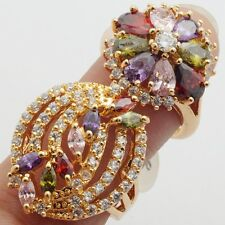 Cubic Zircon Gold Filled Lady Rings Nobly Party Show Rings 2pcs/lots Size 8
