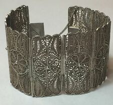 HEAVY Antique Art Nouveau Sterling Silver Filigree Flower Panel Bracelet (51.4g)