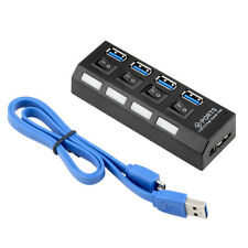 4 Port Hub Splitter USB 3.0 Hi Speed 5Gbps PC Laptop ON OFF Switches Windows 10