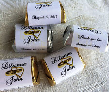 300 DBL GOLD HEARTS wedding candy WRAPPERS/STICKERS/LABELS personalized FAVORS