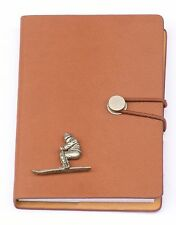 Skier Design Notebook A6 Leather Effect Winter Sports Skier Gift