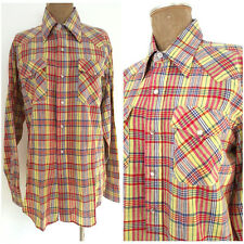 Vintage 70s Western Shirt Size Large India Madras Pearl Snaps LOBO Pen West
